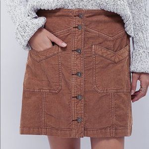 Brown Free People Hold My Hand Cord Skirt